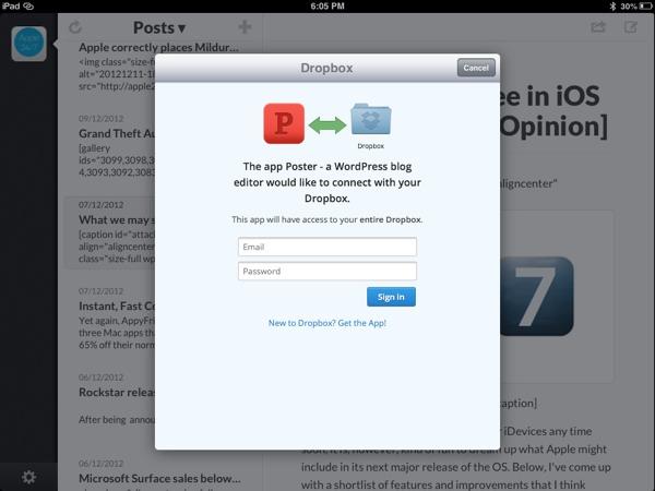 Poster features Dropbox integration