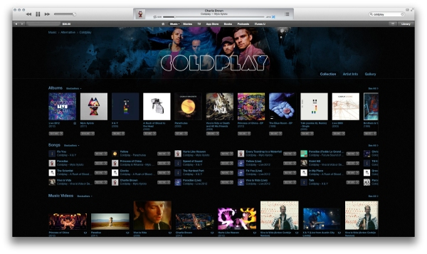 Coldplay's artist page showcases the iTunes Store's new look