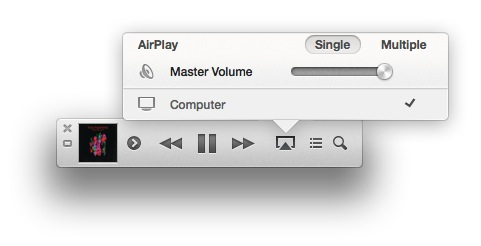 The mini player features AirPlay functionality